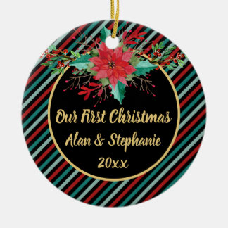 Our First Christmas Poinsettia Floral Stripes Christmas Ornament