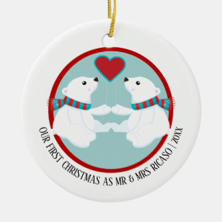 Our First Christmas Polar Bear Personalized Christmas Ornament