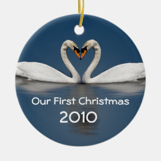 Our First Christmas Pretty Swans Round Ceramic Decoration
