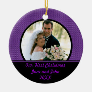 Our First Christmas Purple Photo Ornament