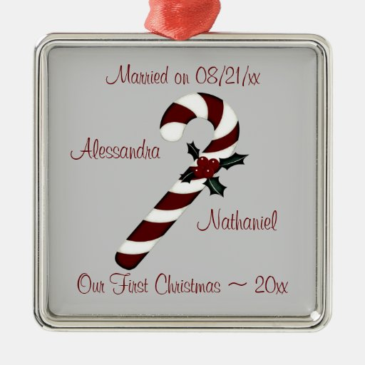 """Our First Christmas"" - Red Candy Cane [b] Christmas Tree Ornament"