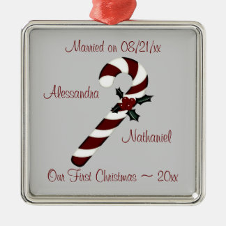 """Our First Christmas"" - Red Candy Cane [b] Silver-Colored Square Decoration"