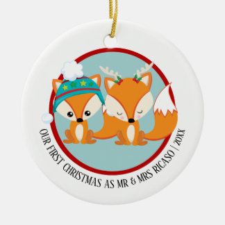 Our First Christmas Red Foxes Personalized Christmas Ornament