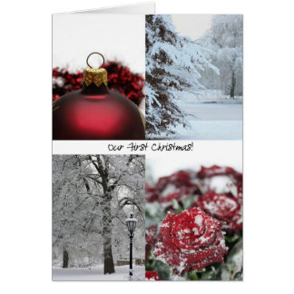 Our First Christmas Red Winter collage Cards