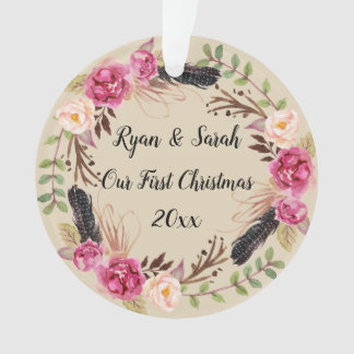 Our First Christmas Rustic Boho Floral Ornament