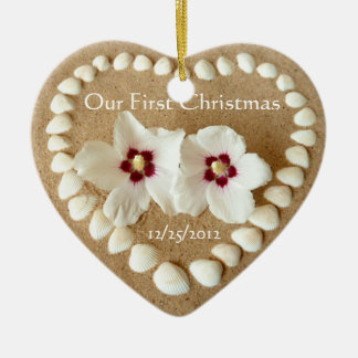 Our First Christmas - Sandy Beach with Heart Shell Double-Sided Heart Ceramic Christmas Ornament