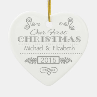 Our First Christmas Silver on White Ceramic Heart Decoration