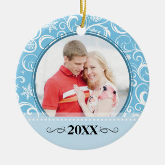 Our First Christmas Snowflake Swirl Photo Ornament