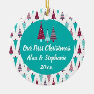 Our First Christmas Teal Mauve Christmas Trees Christmas Ornament