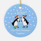Our First Christmas Together 2010 (GLBT Penguins) Christmas Ornament