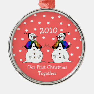Our First Christmas Together 2010 (GLBT Snowwomen) Christmas Ornament
