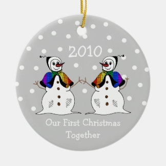 Our First Christmas Together 2010 GLBT Snowwomen Christmas Tree Ornaments