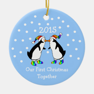 Our First Christmas Together 2015 (LGBT Penguins) Round Ceramic Decoration