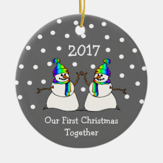 Our First Christmas Together 2017 (GLBT Snowmen) Christmas Ornament
