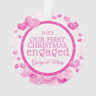 Our First Christmas Together Engaged Photo Pink Ornament