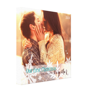 Our First Christmas Together Festive Photo Canvas Canvas Print