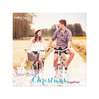Our First Christmas Together Holiday Photo Canvas Stretched Canvas Prints