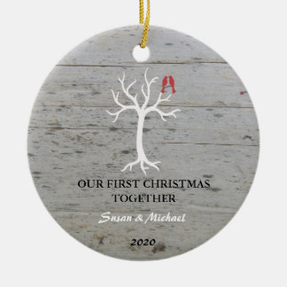 Our first Christmas together love birds tree Christmas Ornament