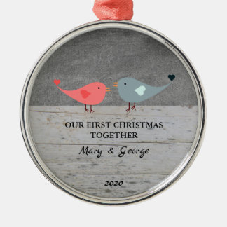 Our first Christmas together love birds wood Christmas Ornament