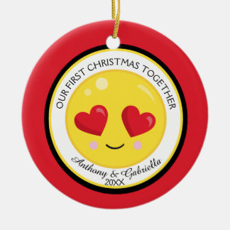 Our First Christmas Together Love Emoji Ornament