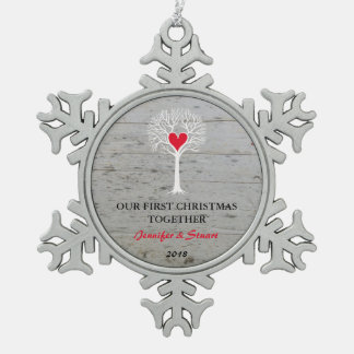 Our first Christmas together love tree wood Snowflake Pewter Christmas Ornament