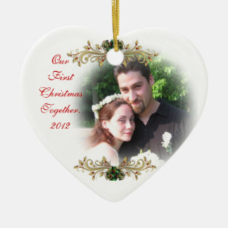 Our first Christmas together ornament heart