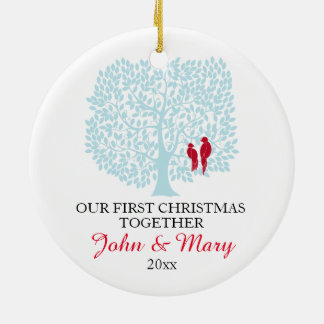 Our first Christmas together ornament, love birds Round Ceramic Decoration
