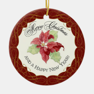 Our First Christmas Together Poinsettia Custom Round Ceramic Decoration