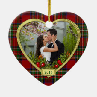 Our First Christmas Together Tartan Photo Xmas Ceramic Heart Decoration