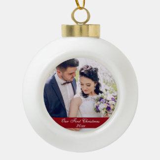 Our First Christmas Wedding Ceramic Ornament