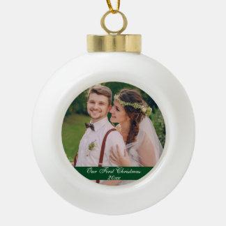 Our First Christmas Wedding Ceramic Ornament G