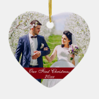 Our First Christmas Wedding Ornament Heart R G