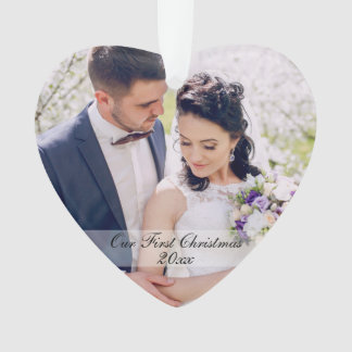 Our First Christmas Wedding Ornament Heart R WS
