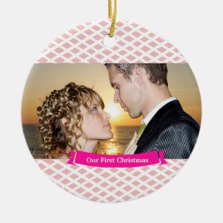 Our First Christmas Wedding Ornament, Peach Round Ceramic Decoration