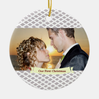 Our First Christmas Wedding Ornament, Slate Round Ceramic Decoration