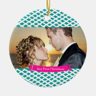 Our First Christmas Wedding Ornament, Teal Round Ceramic Decoration