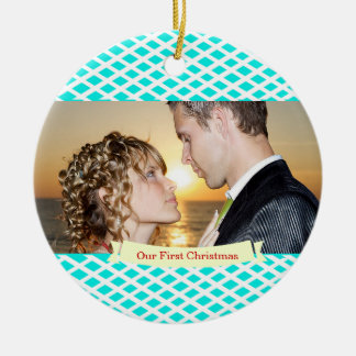 Our First Christmas Wedding Ornament,Turquoise Round Ceramic Decoration