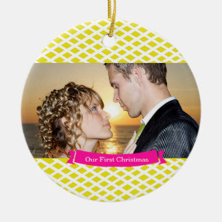 Our First Christmas Wedding Ornament, Yellow Round Ceramic Decoration
