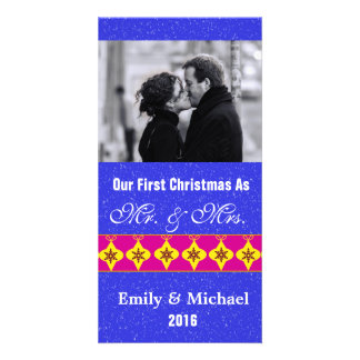 Our First Christmas Wedding Photo Cards Blue