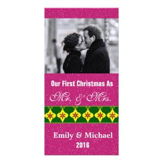 Our First Christmas Wedding Photo Cards Fuchsia