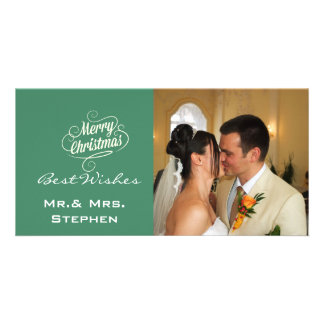 Our First Christmas Wedding Photo Cards Green