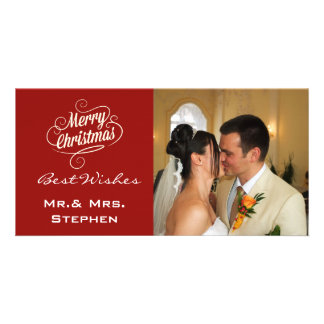 Our First Christmas Wedding Photo Cards Maroon