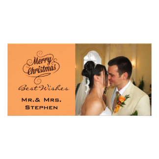 Our First Christmas Wedding Photo Cards Orange