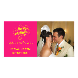 Our First Christmas Wedding Photo Cards Pink