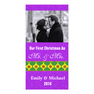 Our First Christmas Wedding Photo Cards Purple