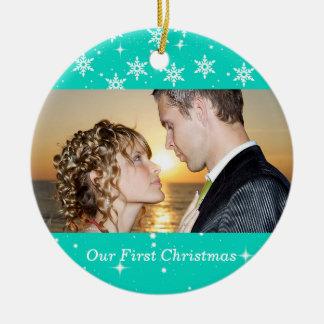Our First Christmas Wedding Photo Ornament, Aqua Round Ceramic Decoration