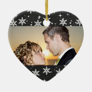 Our First Christmas Wedding Photo Ornament,Black Ceramic Heart Decoration