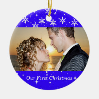 Our First Christmas Wedding Photo Ornament, Blue Round Ceramic Decoration