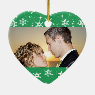 Our First Christmas Wedding Photo Ornament, Green Ceramic Heart Decoration