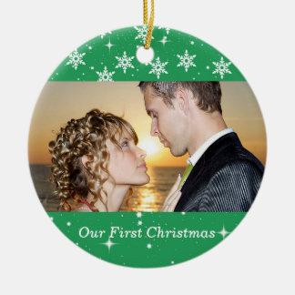 Our First Christmas Wedding Photo Ornament, Green Round Ceramic Decoration